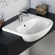 RAK Tonique 52cm Semi-Recessed Basin - 1 Tap Hole - TONSRBAS1