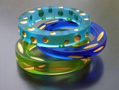 Karen McCreary - Carved Bangle Bracelets: carved, cast resin and 22k gold leaf