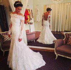 2015 New Lace White\Ivory Bridal Wedding Dress Custom Size 6-8-10-12-14-16++