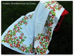 Vintage Sweet Summer Strawberries on Linen