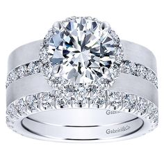 18k White Gold Diamond Halo Engagement Ring | Gabriel & Co NY | ER12341R6W83JJ