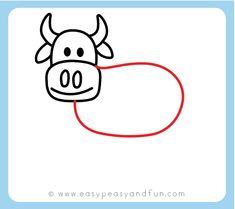 How to Draw a Cow - Step by Step Cow Drawing Instructions (Kids and Beginners) - Easy Peasy and Fun Cow Drawing Easy, Easy Drawings, Teach Kids To Draw, Ag Day, Cartoon Cow, Drawing Templates, Body Drawing, Drawing Lessons, Teaching Art
