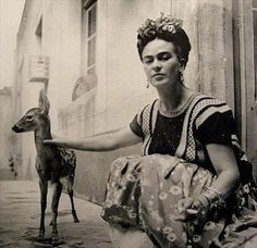 frida kahlo, with granizo, 1939 in coyoacan, photo by nickolas muray, via his homepage Diego Rivera, Frida E Diego, Frida Art, Pet Deer, Baby Deer, Nickolas Muray, Mexican Artists, Louise Bourgeois, Exotic Pets