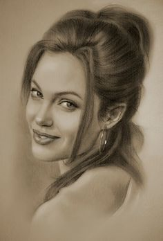 Angelina Jolie. 2b and 8b Pencils, Clear Pastel, Celebrity Drawings. See more art and information about krzysztof20d, Press the Image.