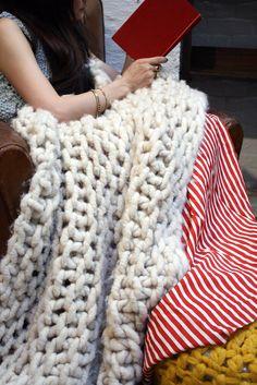 Loopy Mango yarn blanket. Awesome. You can buy big loop yarn or kits to make this blanket, would be fun.