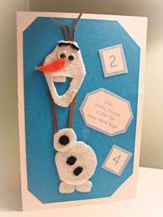 Handmade Felt and Cardstock Olaf the Snowman Frozen Cards, Holiday Cards, Christmas Cards, Olaf Party, Felt Kids, Frozen Themed Birthday Party, Scrapbook, Handmade Felt, Xmas Crafts
