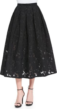 Shop Floral Fil Coupe Midi Skirt, Black from Michael Kors at Neiman Marcus Last Call, where you'll save as much as on designer fashions. Neiman Marcus, Look Formal, Black Midi Skirt, Michael Kors, Floral Print Skirt, Style And Grace, Skirt Fashion, Women's Fashion, Couture Fashion