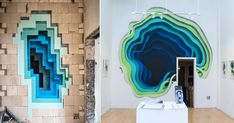 Installatoin view, Limbus.  Hashimoto Contemporary       Over the last year or so, German street artist 1010 (previously) created several of his fantastic spray paint portals in locations around Germany, Panama, and the United States. 1010 brings surprising layers of depth to drab facades and