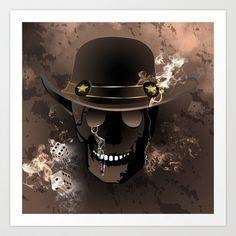 The #skull fighter Art #Print by nicky2342 - $13.73 Skulls, Cowboy Hats, Art Prints, Art Impressions, Skeletons