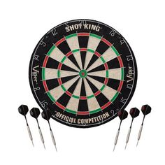 Viper Shot King Regulation Bristle Steel Tip Dartboard Set with Staple-Free Bullseye, Galvanized Metal Spider Wire; High-Grade Compressed Sisal with Rotating Number Ring, Includes 6 Darts, Black Dartboard Light, Hall Of Game, Wire Spider, Electronic Dart Board, Darts Game, Mahogany Cabinets, Dart Set, Box Joints