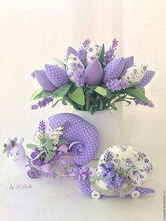 Купить Лавандовые грёзы Интерьерная композиция - интерьерная композиция, букет, тюльпаны, тюльпаны из ткани, улитка