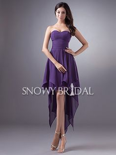 Purple High Low Chiffon Pleated Sweetheart Simple Bridesmaid Dress - US$ 85.99 - Style B1423 - Snowy Bridal