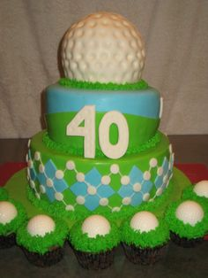 Golf Cake Ideas taken from fellow CC'ers. Yellow cake with Lemon Curd filling and vanilla BC. 70th Birthday Parties, Birthday Celebration, Birthday Cakes, Golf Cupcakes, Cake Pictures, Cake Pics, Sports Themed Cakes, Realistic Cakes, Lemon Curd Filling