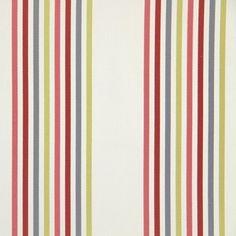 Halsway Cherry 100% cotton 143cm Vertical Stripe Curtaining