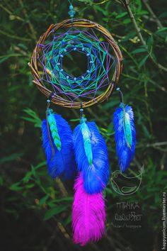 """Ловец снов """"Доли - лазурная птица """" - фуксия,синий,бирюзовый,фиолетовый"""