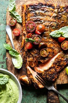 Honey Mustard Grilled Salmon with Avocado Basil Sauce. A simple, healthy salmon recipe to grill up for Memorial Day! Healthy Salmon Recipes, Fish Recipes, Seafood Recipes, Cooking Recipes, Tilapia Recipes, Cooking Tips, Dinner Recipes, Honey Mustard Salmon, Basil Sauce