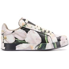 Dolce & Gabbana Printed Leather Sneakers (€945) ❤ liked on Polyvore…