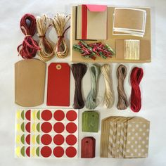 REAL SIMPLE holiday gift wrap kit - Neutral, red, moss and gold - as seen in December 2012 Real Simple magazine