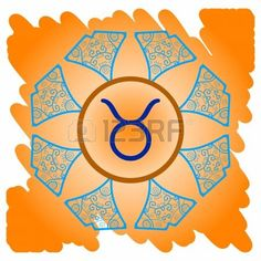 zodiac sign Taurus  What is karma  Vector circle with zodiac signs on ornate wallpaper  Oriental mandala motif square lase pattern, like snowflake or mehndi paint  Watercolor elements on background photo