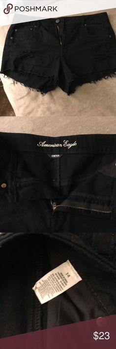 Black American eagle destroyed shorts Black American eagle destroyed Jean shorts.. stretch.. American Eagle Outfitters Shorts Jean Shorts