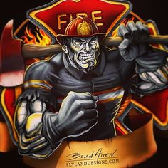 Flyland Designs, Freelance Illustration and Graphic Design by Brian Allen - Firefighter Logo, Volunteer Firefighter, Firefighters, Navy Tattoos, Fire Badge, Knight Art, Mascot Design, Horror Movie Posters, Fire Dept