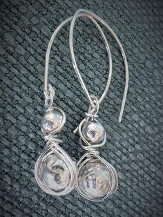 Sterling Silver Weaved Hammered Bead Earrings by SFDesigns2015
