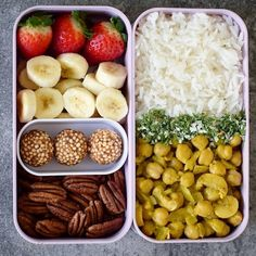 """4,905 Likes, 44 Comments - @highcarbjelly on Instagram: """"Bento lunch box Yellow curry rice with fruits and nuts. What is your favorite lunch? @elavegan . .…"""""""
