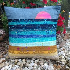 Improv  pillow. Quilted pillow. Modern pillow. by Fairly Merry