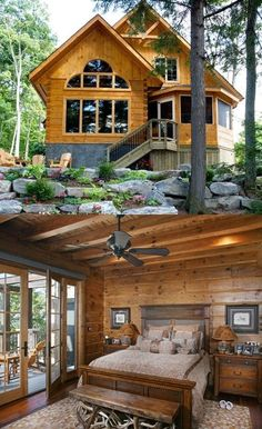 Love the flat logs! This is what I would want if i built a log cabin! - Love the flat logs! This is what I would want if i built a log cabin! Log Cabin Living, Small Log Cabin, Log Cabin Kits, Log Cabin Homes, Log Cabins, Cabin Plans, Style At Home, Staircase Design Modern, Casas Country