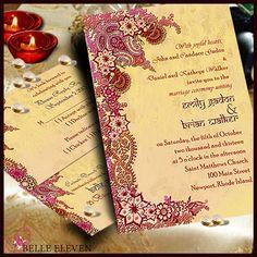DIY Printable Wedding Invitation, RSVP, Reception Card, Indian/Bollywood Maroon & Gold Inspired on Etsy, $10.00