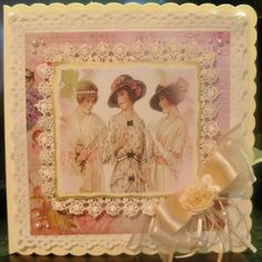 Elegant ladies with lace finish Vintage Cards, Vintage Images, Art Deco Cards, Mothers Day Cards, Elegant Woman, Handmade Cards, Shabby Chic, Vintage Fashion, Create