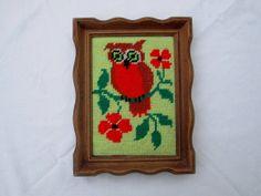 Kitschy Vintage Owl Embroidery, Circa 1970's
