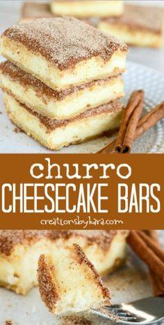 Churro Cheesecake Bars Cheesecake Bars, Dessert Recipes, Desserts, Churros, Tiramisu, Ethnic Recipes, Food, Tailgate Desserts, Churro