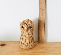 Vintage Bohemian Wicker Owl Bank / Boho Nursery / Gender Neutral Baby Gift / Boho Baby / Wicker Baby / Owl Lover / Vintage Owl Figurine by uvwarehouse on Etsy