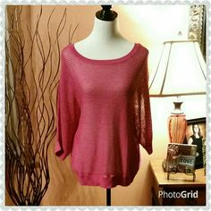 Fuchsia dolman crewneck sweater. New with tag.  Beautiful open knit sweater with dolman sleeves. Apt. 9 Sweaters Crew & Scoop Necks