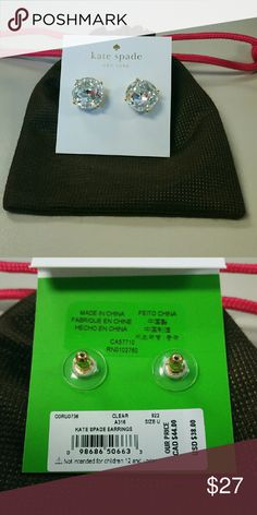 Kate Spade large gumdrop earrings NWT authentic Kate Spade Large crystal studs. Gold tone metal. Comes with dust bag. Retail for $38.00 kate spade Jewelry Earrings