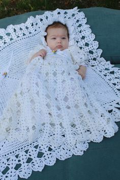 """Picture of Blessed Christening Set Crochet Pattern """" gown, bonnet, booties as well as afghan ~ afghan meas. 31 square ~ create an heirloom for your family Thread Crochet, Crochet Stitches, Crochet Hooks, Knit Crochet, Crochet Storage, Easy Crochet, Free Crochet, Crochet Baby Shoes, Crochet Baby Clothes"""