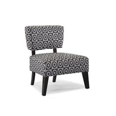 @Overstock - Materials: Upholstery grade fabric, and high density foam seating   Finish: Espresso   Upholstery materials: Heavy upholstery grade woven in grey   http://www.overstock.com/Home-Garden/Delano-Bulls-Eye-Grey-Accent-Chair/6310707/product.html?CID=214117 $113.99