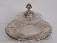 Catawiki online auction house: Silver tray with crystal cheese- or pastry bell-jar, Japonism, Austria-Hungary, approx. 1890
