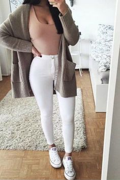 teen-fashion-outfit-ideas-for-school-white-jeans-converse-sneakers-sweater-cardigan-crop-top