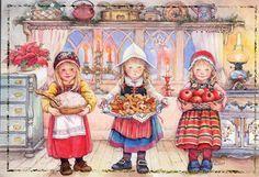 Tres niñas con dulces. Lisi Martin