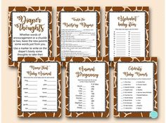 Baby Shower Ideas on decorations, over 50 baby shower themes, FREE Baby Shower Games Printable and baby shower Favors Free Baby Shower Games, Baby Shower Signs, Baby Shower Favors, Baby Shower Themes, Shower Ideas, Bridal Shower, Baby Name Game, Giraffe Birthday, Baby Shower Giraffe