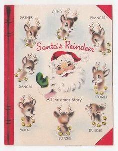 Vintage Greeting Card Christmas Santa Claus Reindeer Book Norcross 1950s
