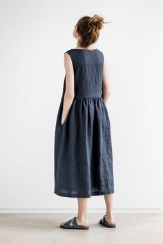 Maxi washed linen summer dress / Charcoal sleeveless linen