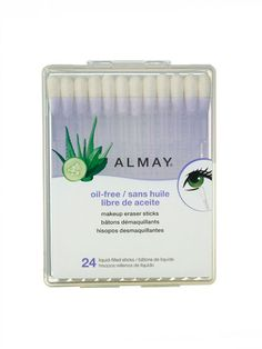 Almay Oil-Free Makeup Eraser Sticks. These snap-and-saturate cotton swabs clean up wonky liner and smudged mascara in the blink of an eye, no tugging on lashes or starting from scratch necessary. Bonus: The portable plastic case fits into the narrowest clutch.