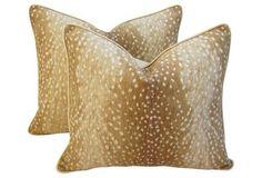 Southern Elegance for One Kings Lane: Safari Antelope   Fawn Spot Pillows,  Pr
