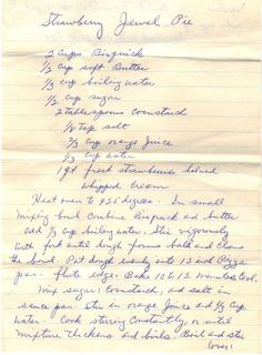 Handwritten Recipe For Strawberry Jewel Pie