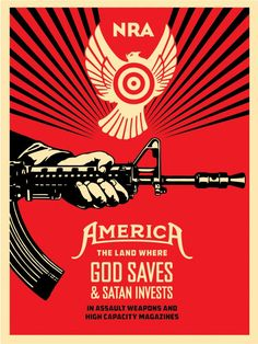 Shepard Fairey (Obey Giant) - God Saves & Satan Invests (NRA) Offset @ GOOD BOUTIQUE : Galerie d'art experte dans le street art