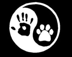 Show the world you are one with your pup with this Yin Yang human hand/dog paw decal.