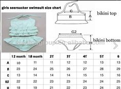 bikini top sizing chart for children